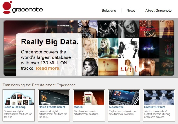 Gracenote-homepage