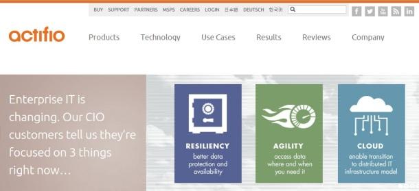 actifio-homepage-screenshot